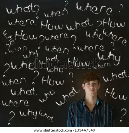 Thinking business man, student or teacher asking what why when were who and how questions on  blackboard background - stock photo