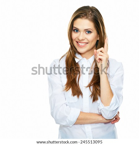 thinking business woman portrait . white background isolated. - stock photo
