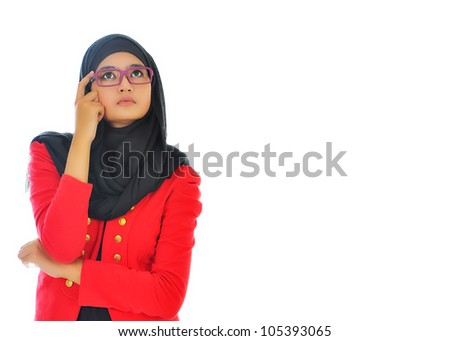 Thinking business woman smiling looking up at copy space. Beautiful young professional isolated on white background - stock photo
