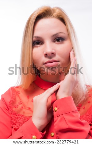 Thinking business woman smiling looking up at copy space. Beautiful young professional isolated on white background. - stock photo