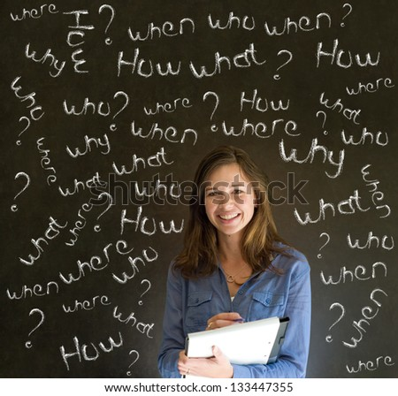 Thinking business woman, student or teacher asking what why when were who and how questions on  blackboard background