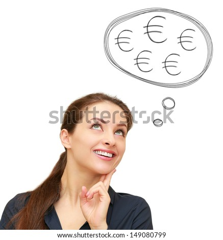 Thinking business woman with many euro signs in bubble above isolated on white background - stock photo