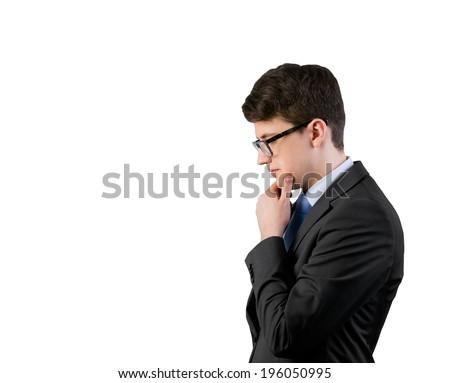 Thinking businessman - stock photo