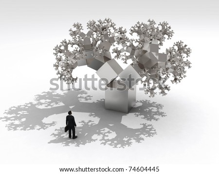 thinking businessman before fractal tree - stock photo