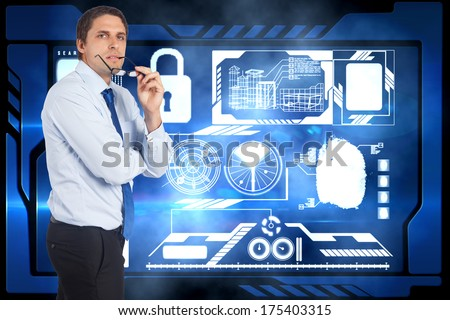 Thinking businessman biting glasses against security interface