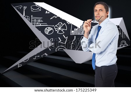 Thinking businessman biting glasses against steps leading to light in the darkness