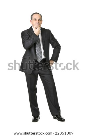 Thinking businessman in a suit isolated on white background - stock photo