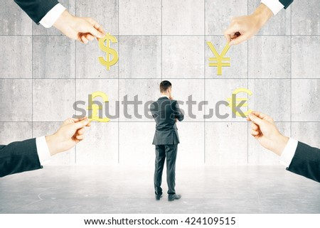 Thinking businessman in interior with four hands holding pound, euro, dollar and yuan signs. 3D Rendering - stock photo