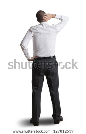 Thinking businessman isolated on white background - stock photo