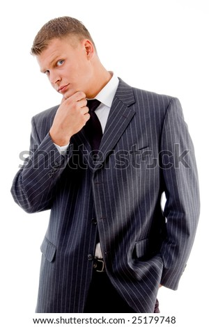 thinking businessman looking at camera on an isolated background - stock photo