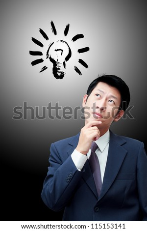 Thinking businessman with red icons on background