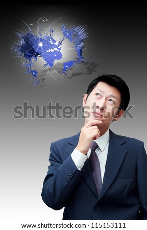 Thinking businessman with social network structure icons on global background - stock photo