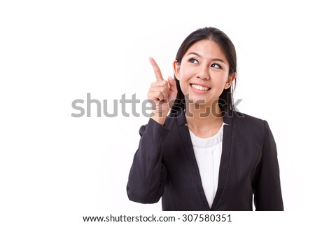 thinking businesswoman executive with good idea - stock photo