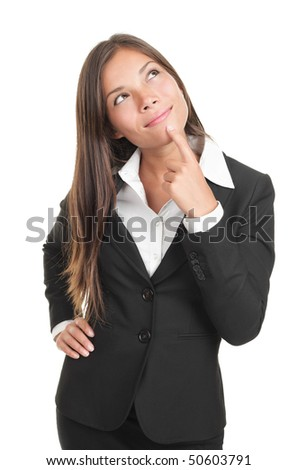 Thinking businesswoman portrait cutout. Pensive multiracial chinese / caucasian young business woman model in suit isolated on white background. - stock photo