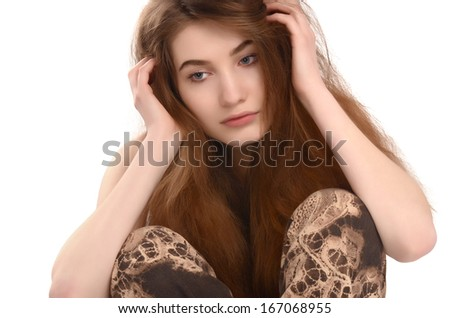 Thinking, contemplating, sad. Young unhappy woman looking down. Bad hair day.  Isolated on white. - stock photo