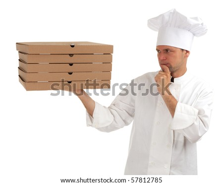 thinking cook in white uniform and hat with boxes of pizza