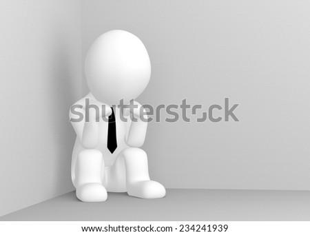 Thinking 3d man sitting in corner of room - stock photo