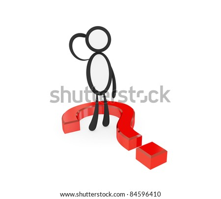 Thinking 3d small person and red query sign. Isolated on white background. 3d rendered. - stock photo