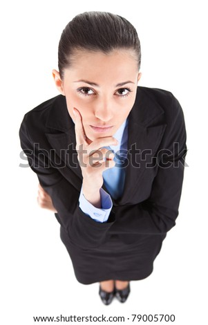 thinking funny businesswoman, isolated on white background, top view - stock photo
