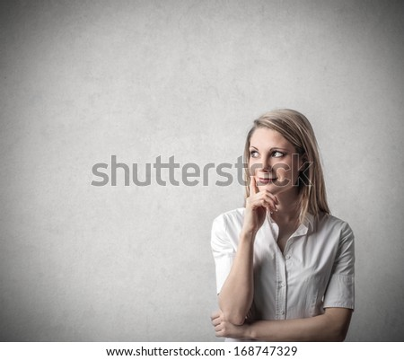 Thinking Girl - stock photo