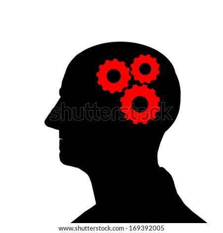 thinking head with gears, brainstorming concept