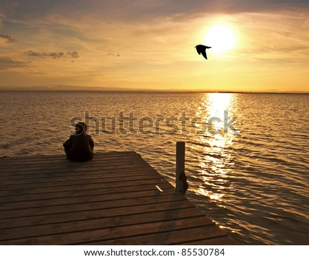 thinking in solitude - stock photo