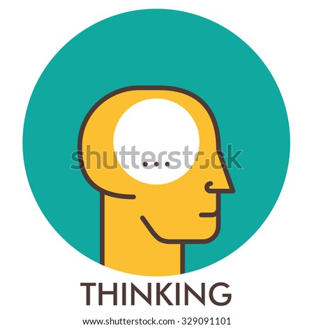 Thinking. Line icon with flat design elements. Flat icon. Flat Design. Icon concept.  - stock photo
