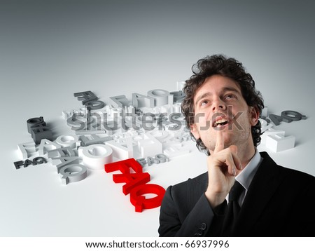 thinking man and 3d question background