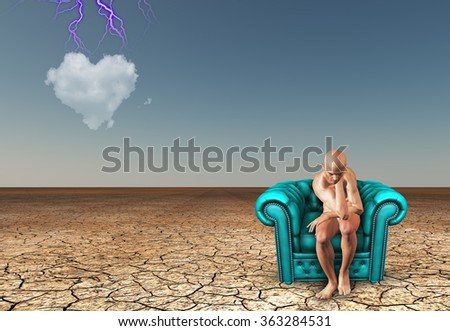 Thinking man and heart shaped cloud - stock photo
