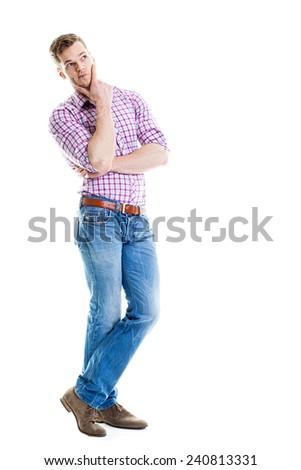 Thinking man full length isolated - stock photo