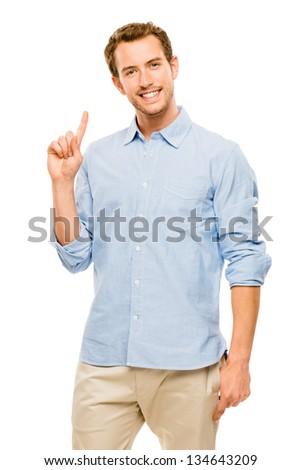 thinking man has idea portrait on a white background - stock photo