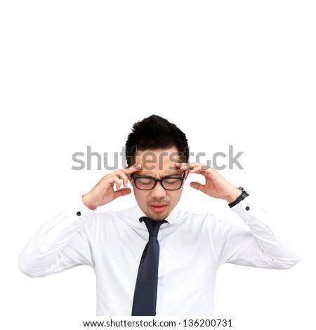 Thinking man isolated on white background - stock photo
