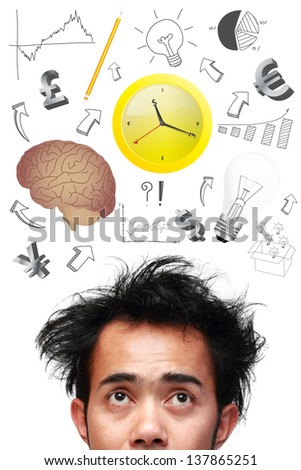 Thinking man with business strategy plan concept idea, isolated on white - stock photo