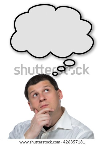 Thinking man with empty thought bubble