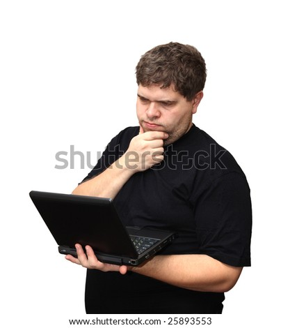 thinking man with laptop isolated on white