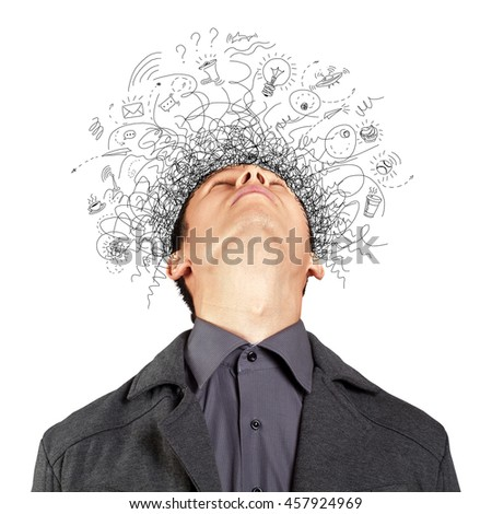 Thinking man with signs and light idea bulb above - stock photo