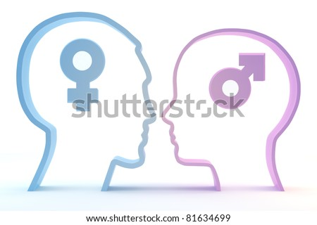 Thinking of the opposite sex male and female isolated on a white background - stock photo