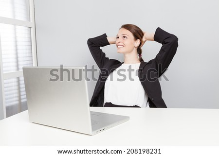 Thinking office worker - stock photo