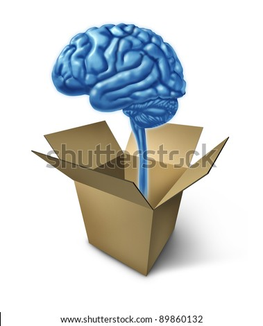 Thinking out of the box symbol showing the concept of new innovative ideas with a human brain and an opened cardboard box representing answers and different solutions to difficult strategy problems. - stock photo