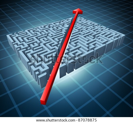 Thinking outside the box represented by a red arrow cutting through a complicated maze as a shortcut solving a problem with an innovative simple solution and strategy. - stock photo