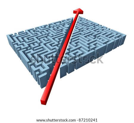 Thinking outside the box represented by a red arrow cutting through a complicated maze as a shortcut solving a problem with an innovative simple solution and strategy isolated on white. - stock photo