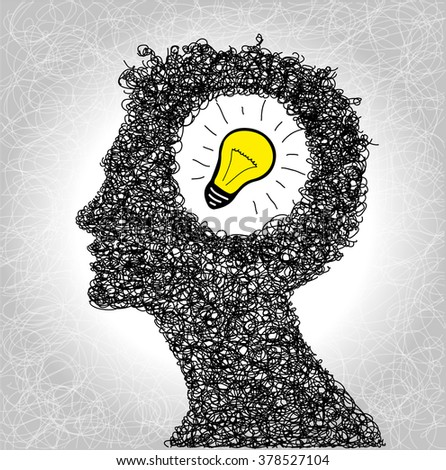 Thinking Person With Lightbulb Idea Brain Design On Background And Creative Concept