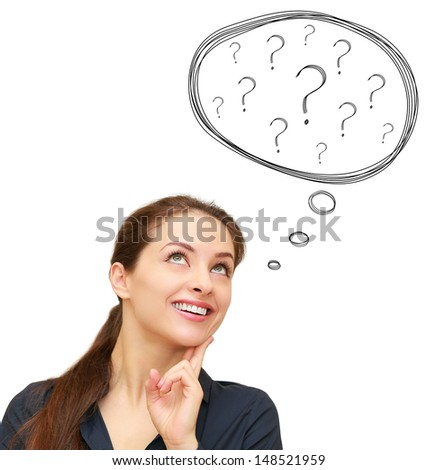 Thinking smiling woman with many questions sign in bubble isolated on white background