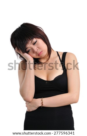 Thinking, tired or ill with headache young woman, isolated over white background