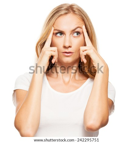 Thinking woman  at white background.  - stock photo