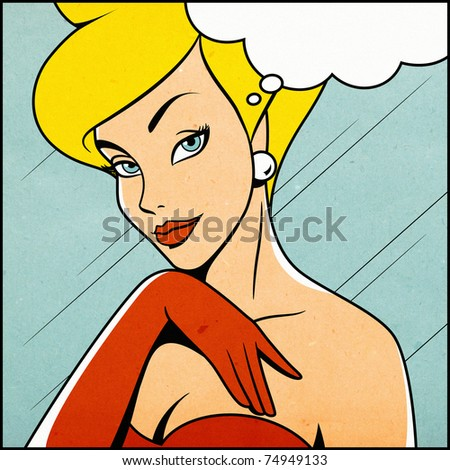Thinking woman in retro comics style (image with paper texture) - stock photo