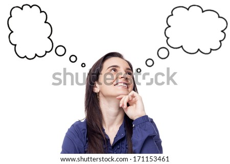 Thinking woman with empty bubbles on white background