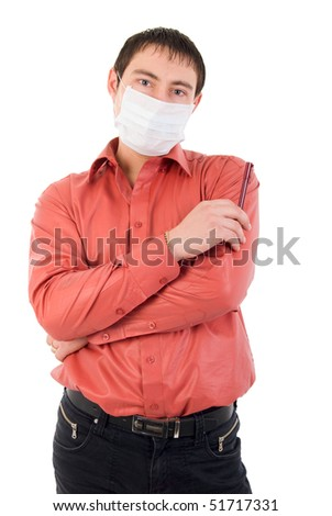 Thinking Young Adult Man In Medicine Mask. Studio Shoot Over White Background.