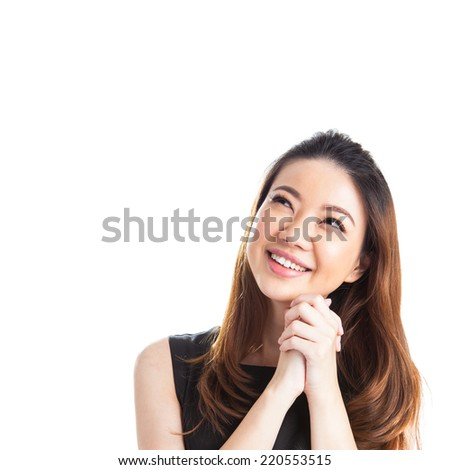 Thinking young and beautiful casual businesswoman. Mixed race chinese / caucasian model isolated on seamless white background. - stock photo