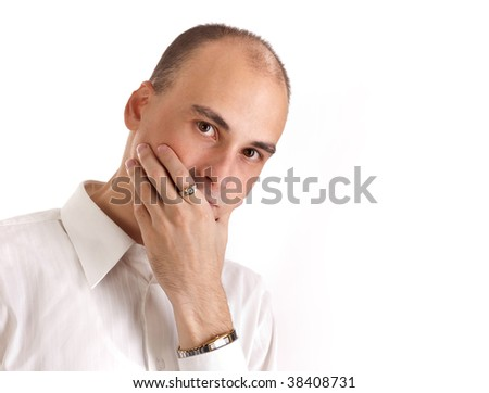 Thinking young man - stock photo
